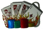 CARDS & POKER CHIPS - SMALL BELT BUCKLE + display stand